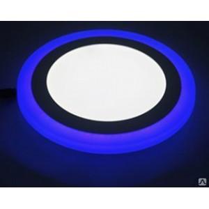 Светильник ультратонкий с декоративной подсветкой, круглый, 12+4W, Синий
