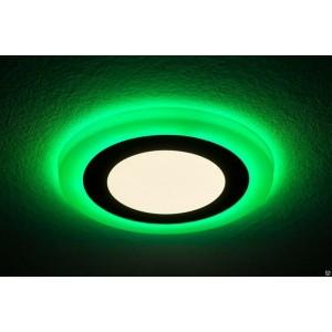 Светильник ультратонкий с декоративной подсветкой круглый, 6+3W, Зеленый