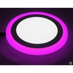 Светильник ультратонкий с декоротивной подсветкой, круглый, 12+4W, Розовый