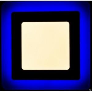 Светильник ультратонкий с декоротивной подсветкой, квадратный, 3+2W, Синий