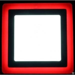 Светильник ультратонкий с декоротивной подсветкой,квадратный, 6+3W, Красный