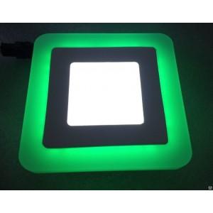 Светильник ультратонкий с декоративной подсветкой, квадратный, 6+3W, Зеленый