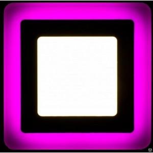 Светильник ультратонкий с декоротивной подсветкой, квадратный, 3+2W, Розовый