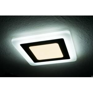 Светильник ультратонкий с декоротивной подсветкой, квадратный, 12+4W, Белый