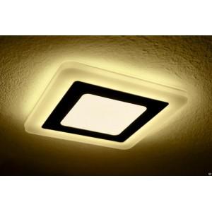 Светильник ультратонкий с декоративной подсветкой, круглый, 3+2W, Желтый
