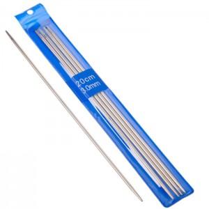 Комплект спиц вязальных чулочные, 5шт, металл, размер 3,0, длина 20см