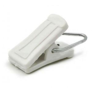 Зажим д/штор пластмассовый со скобой (белый)