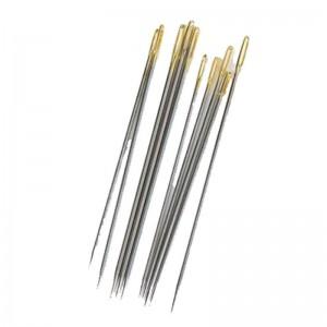 Набор швейных игл 10шт с золотым ушком, сталь